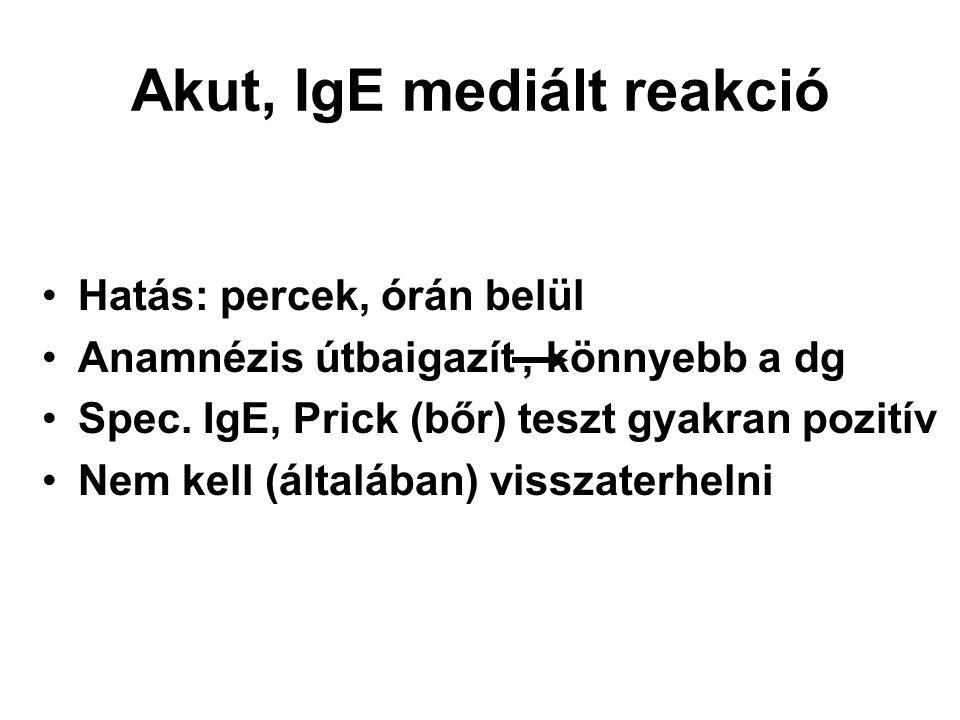 Akut, IgE mediált reakció