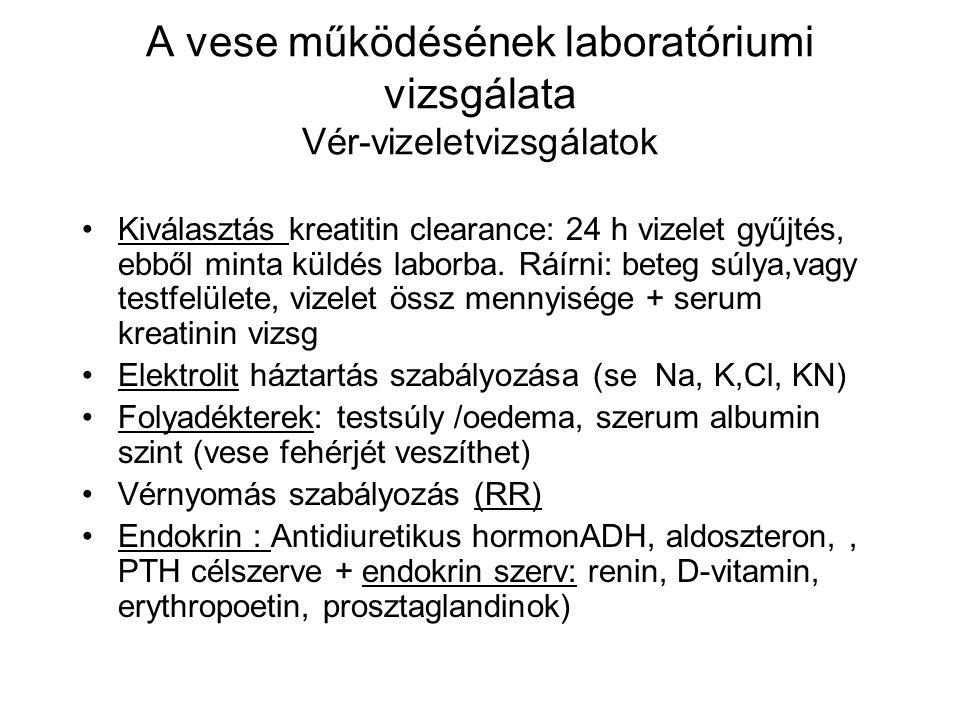 A vese működésének laboratóriumi vizsgálata Vér-vizeletvizsgálatok