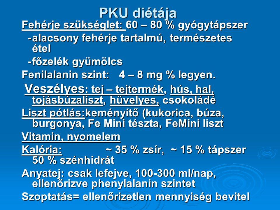 PKU diétája Fehérje szükséglet: 60 – 80 % gyógytápszer