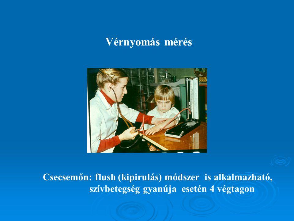 Vérnyomás mérés Csecsemőn: flush (kipirulás) módszer is alkalmazható,