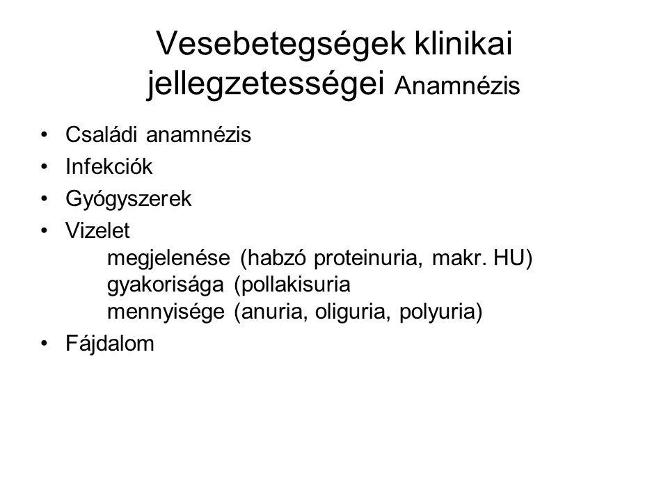 Vesebetegségek klinikai jellegzetességei Anamnézis