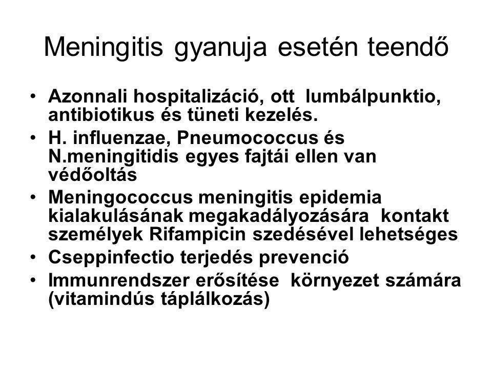 Meningitis gyanuja esetén teendő