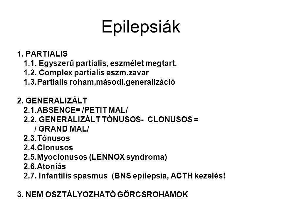 Epilepsiák 1. PARTIALIS 1.1. Egyszerű partialis, eszmélet megtart.