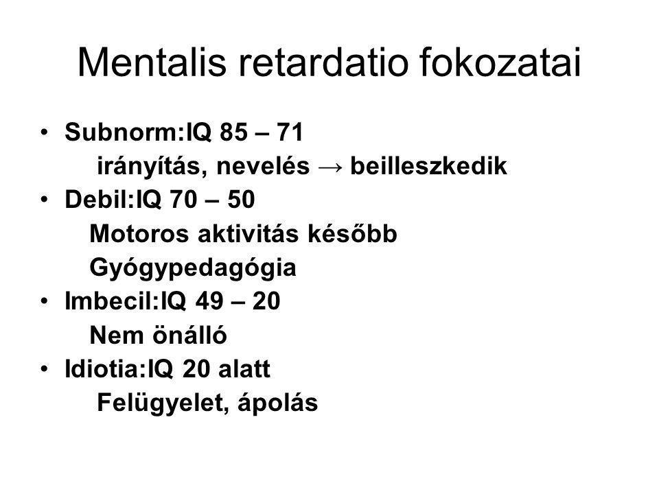 Mentalis retardatio fokozatai
