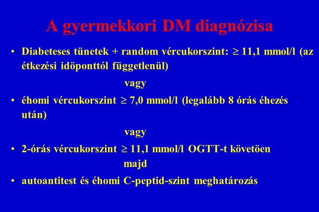 A gyermekkori DM diagnózisa