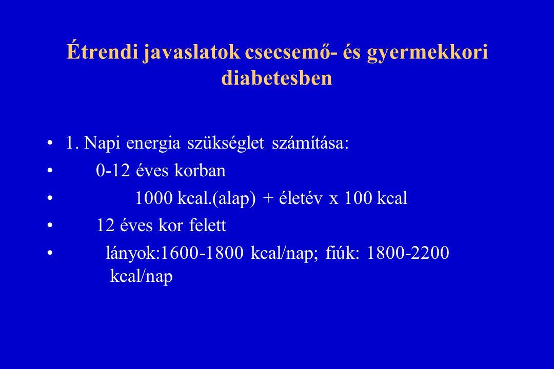 Étrendi javaslatok csecsemő- és gyermekkori diabetesben