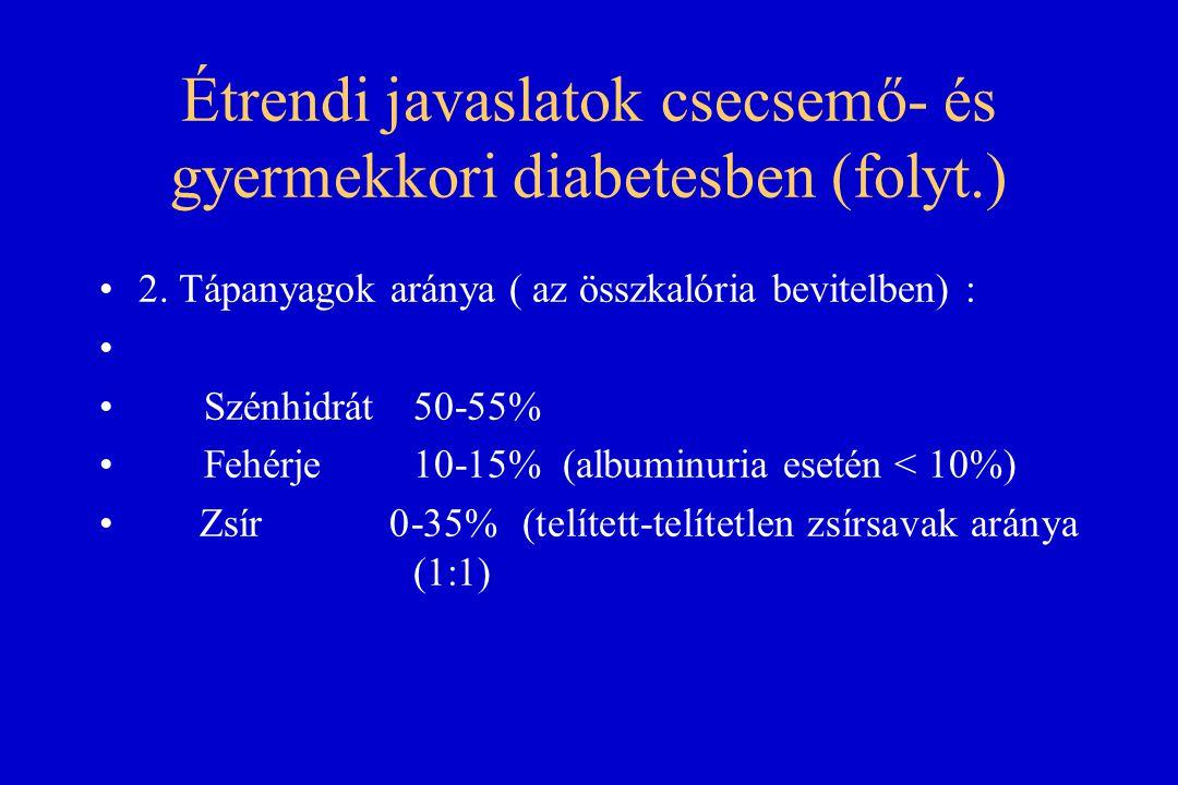 Étrendi javaslatok csecsemő- és gyermekkori diabetesben (folyt.)