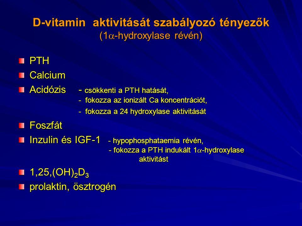 D-vitamin aktivitását szabályozó tényezők (1-hydroxylase révén)
