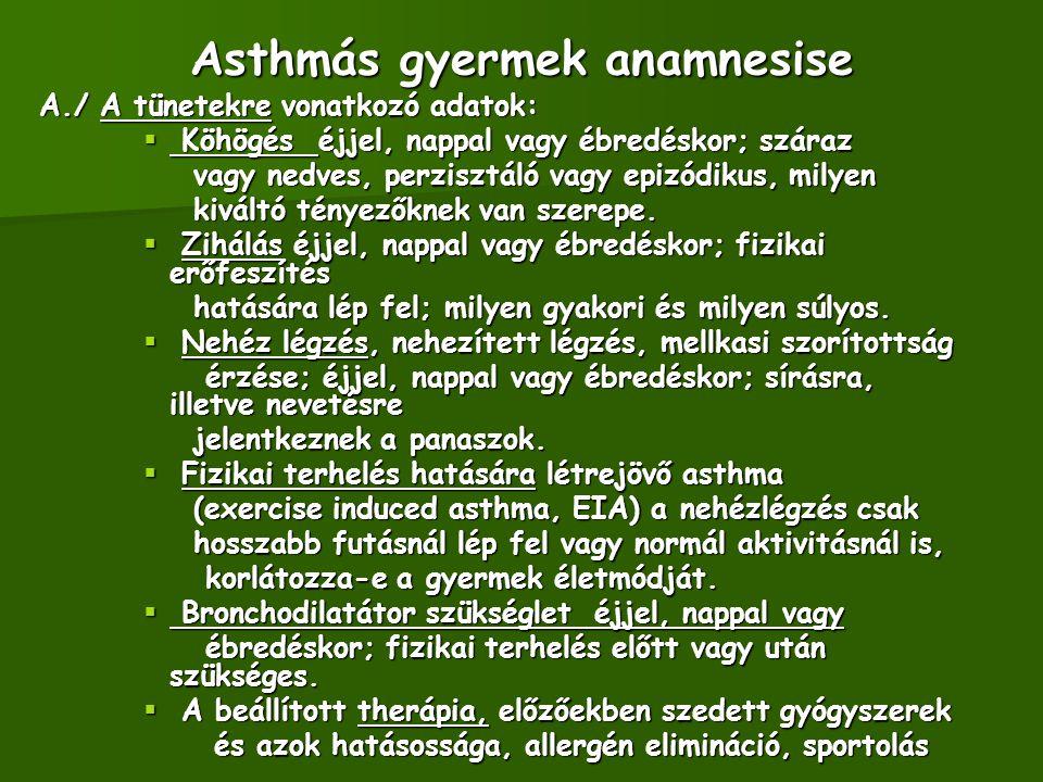 Asthmás gyermek anamnesise