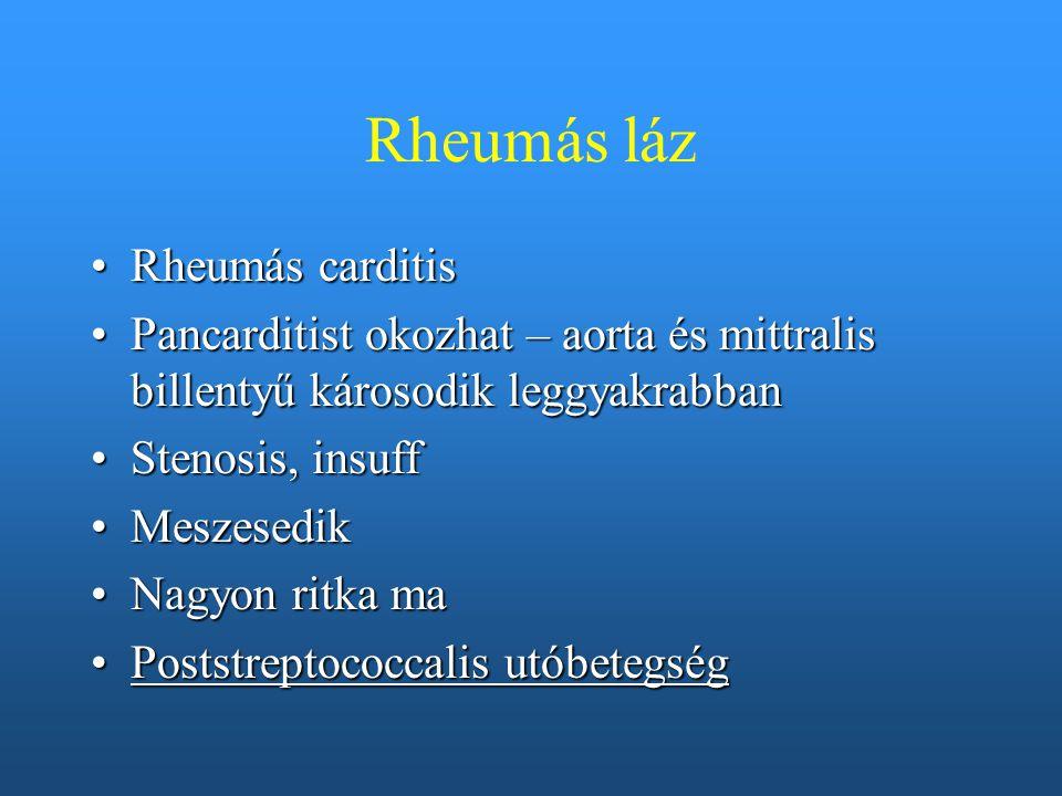 Rheumás láz Rheumás carditis