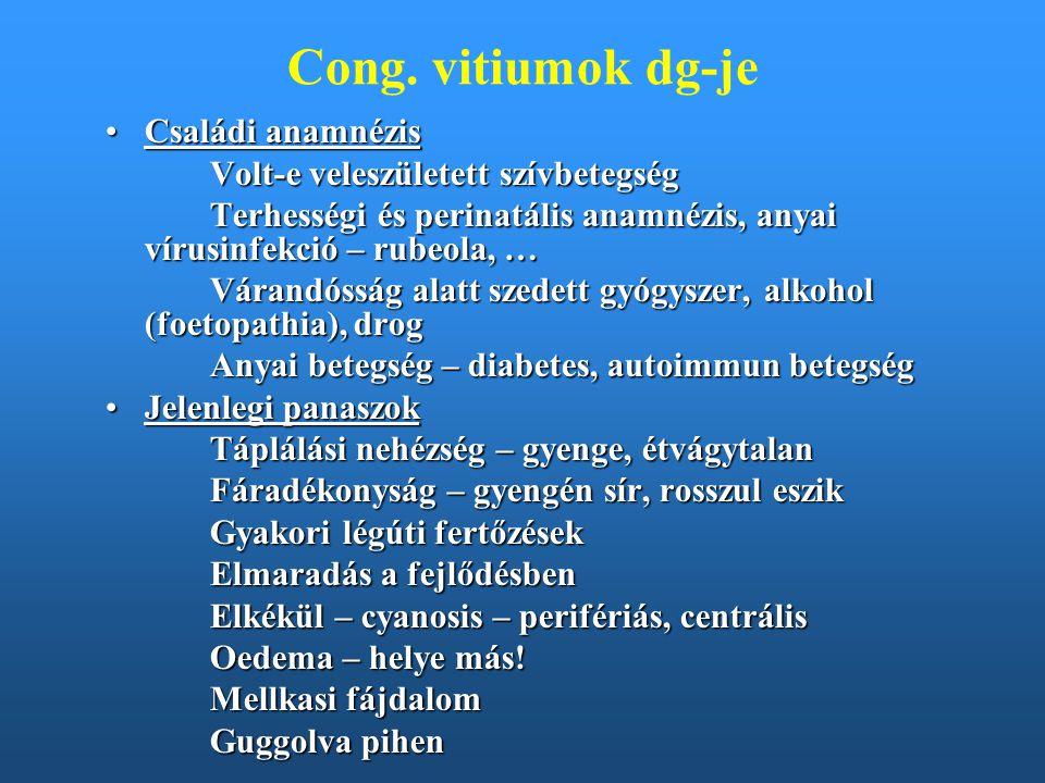 Cong. vitiumok dg-je Családi anamnézis