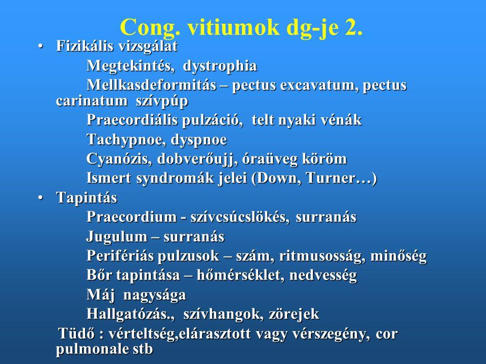 Cong. vitiumok dg-je 2. Fizikális vizsgálat Megtekintés, dystrophia