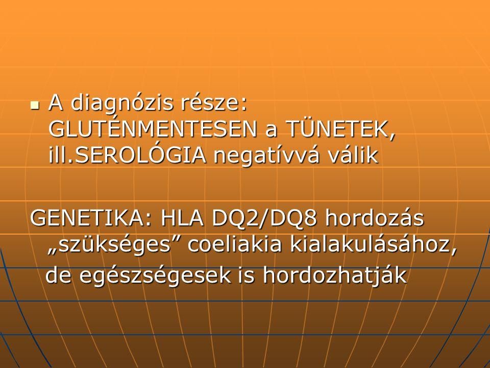 A diagnózis része: GLUTÉNMENTESEN a TÜNETEK, ill