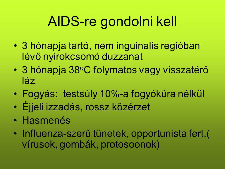AIDS-re gondolni kell 3 hónapja tartó, nem inguinalis regióban lévő nyirokcsomó duzzanat. 3 hónapja 38oC folymatos vagy visszatérő láz.
