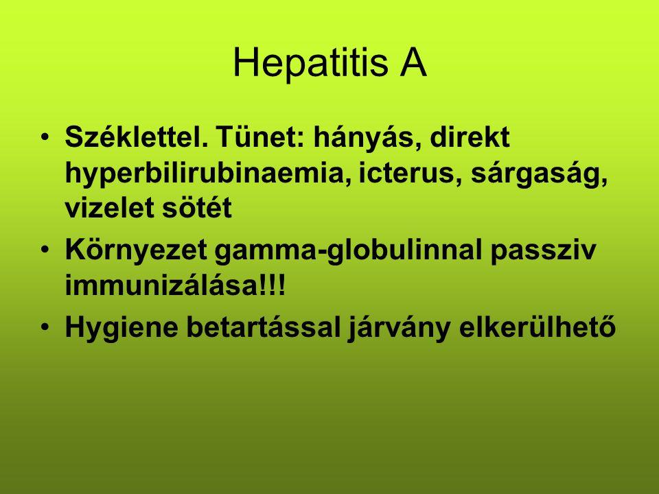 Hepatitis A Széklettel. Tünet: hányás, direkt hyperbilirubinaemia, icterus, sárgaság, vizelet sötét.
