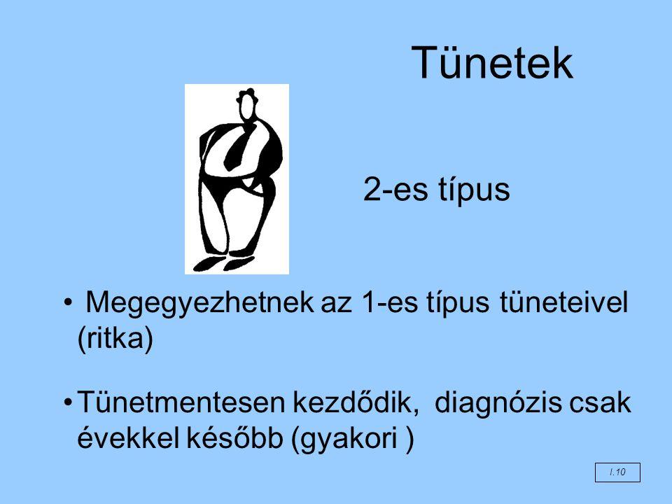 Tünetek 2-es típus Megegyezhetnek az 1-es típus tüneteivel (ritka)