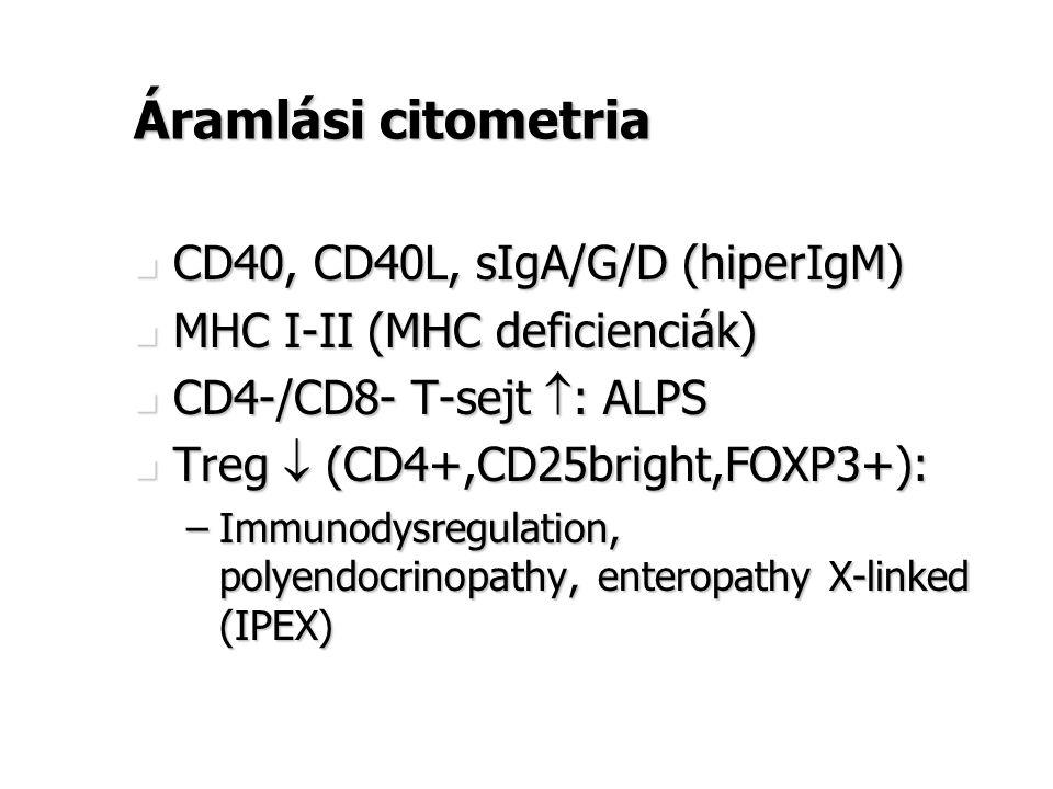 Áramlási citometria CD40, CD40L, sIgA/G/D (hiperIgM)