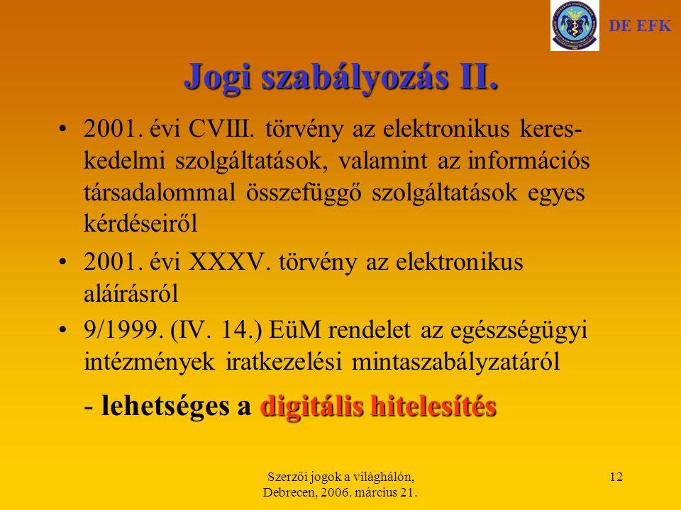 Szerzői jogok a világhálón, Debrecen, 2006. március 21.