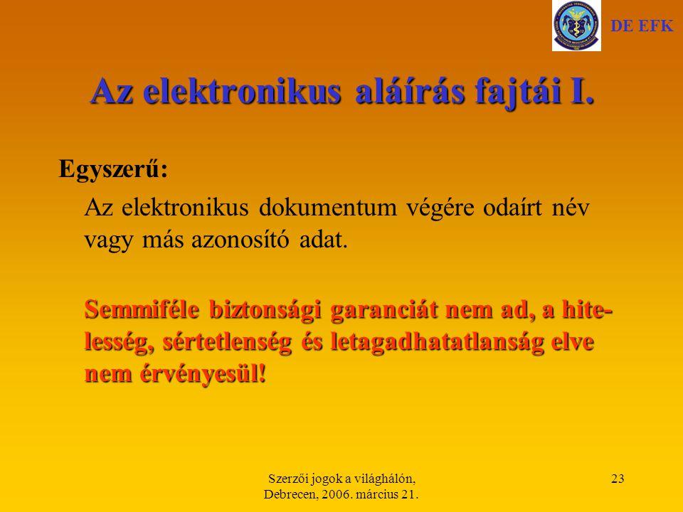 Az elektronikus aláírás fajtái I.