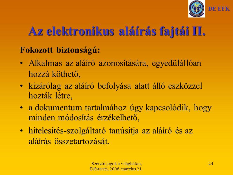 Az elektronikus aláírás fajtái II.