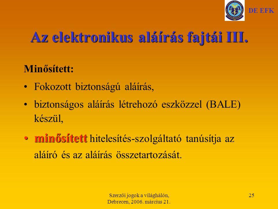 Az elektronikus aláírás fajtái III.