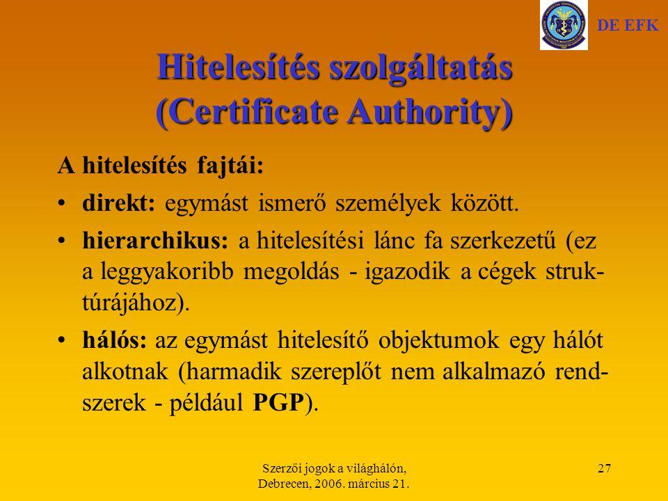 Hitelesítés szolgáltatás (Certificate Authority)