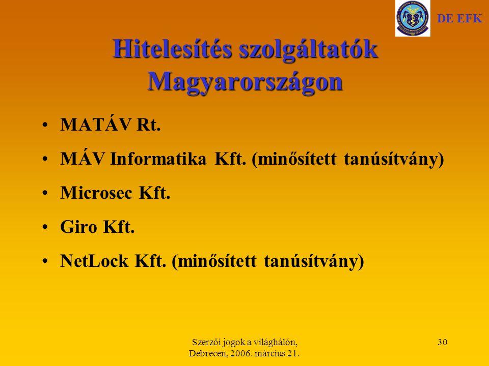 Hitelesítés szolgáltatók Magyarországon