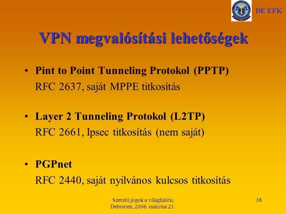 VPN megvalósítási lehetőségek