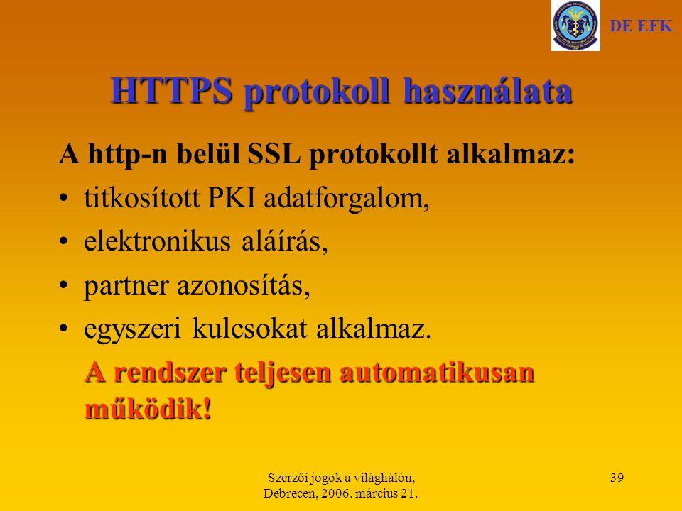HTTPS protokoll használata