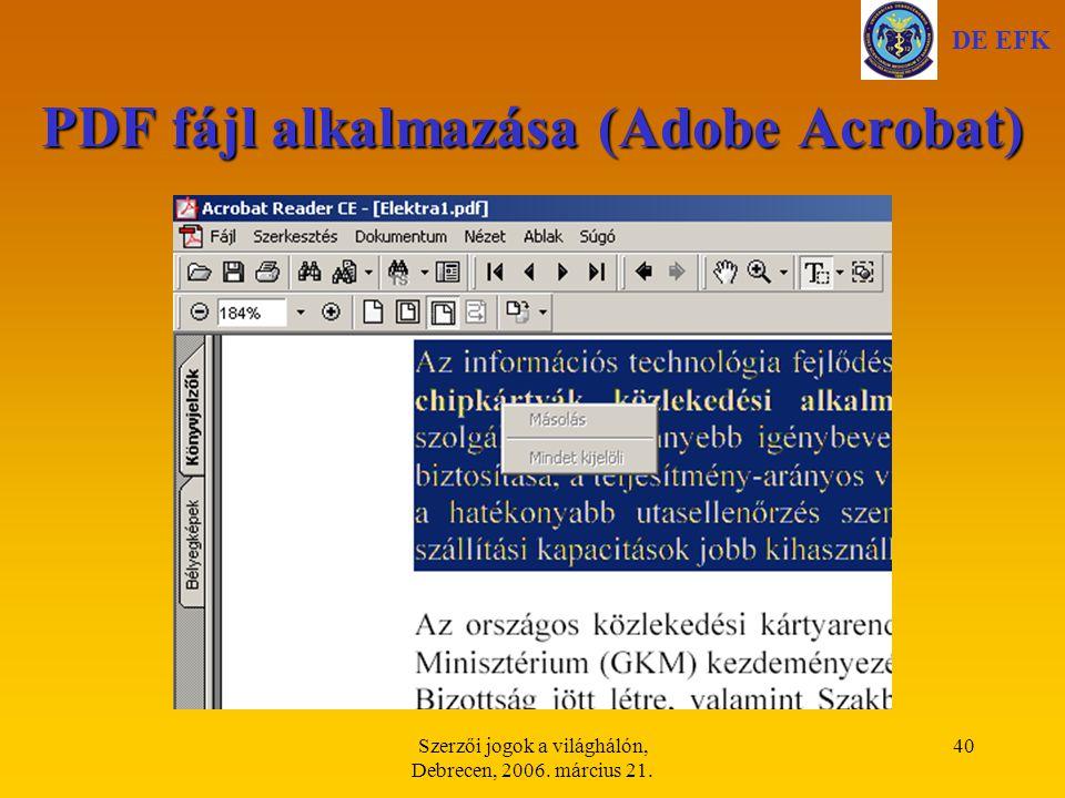 PDF fájl alkalmazása (Adobe Acrobat)