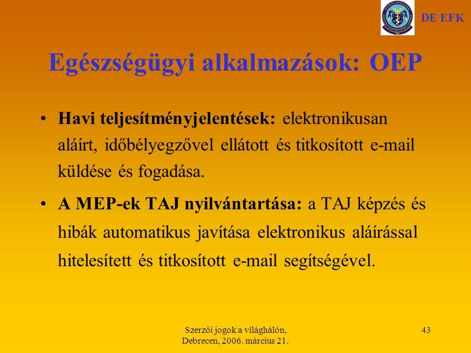 Egészségügyi alkalmazások: OEP