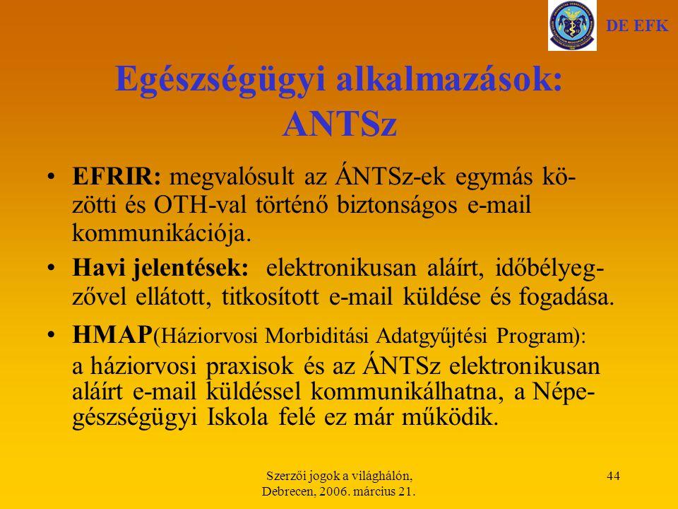 Egészségügyi alkalmazások: ANTSz