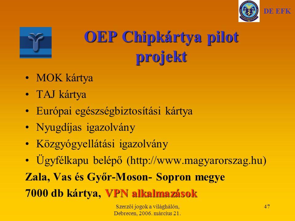 OEP Chipkártya pilot projekt