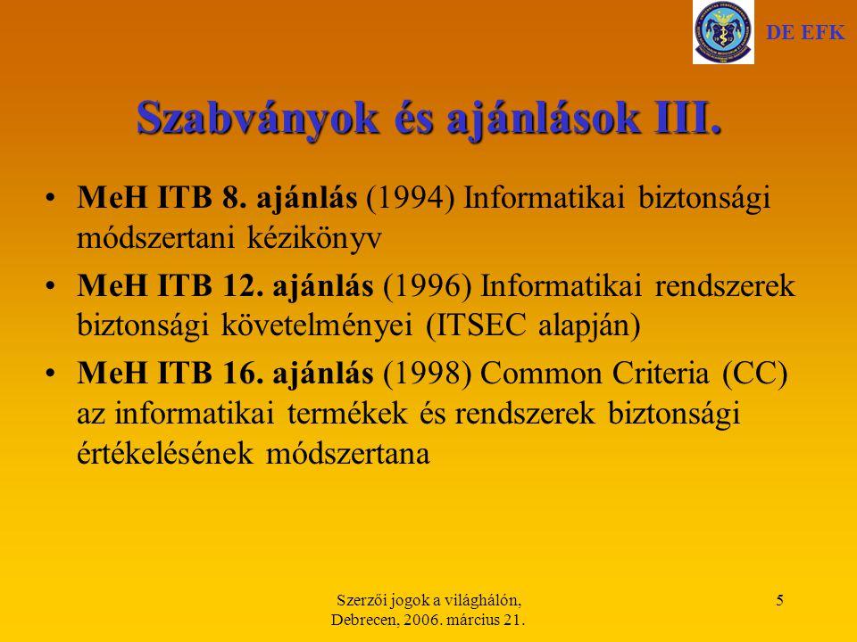 Szabványok és ajánlások III.