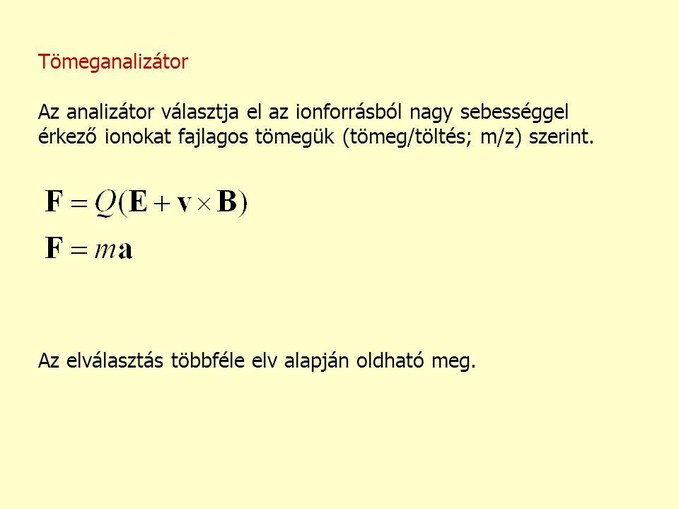 Tömeganalizátor Az analizátor választja el az ionforrásból nagy sebességgel érkező ionokat fajlagos tömegük (tömeg/töltés; m/z) szerint.