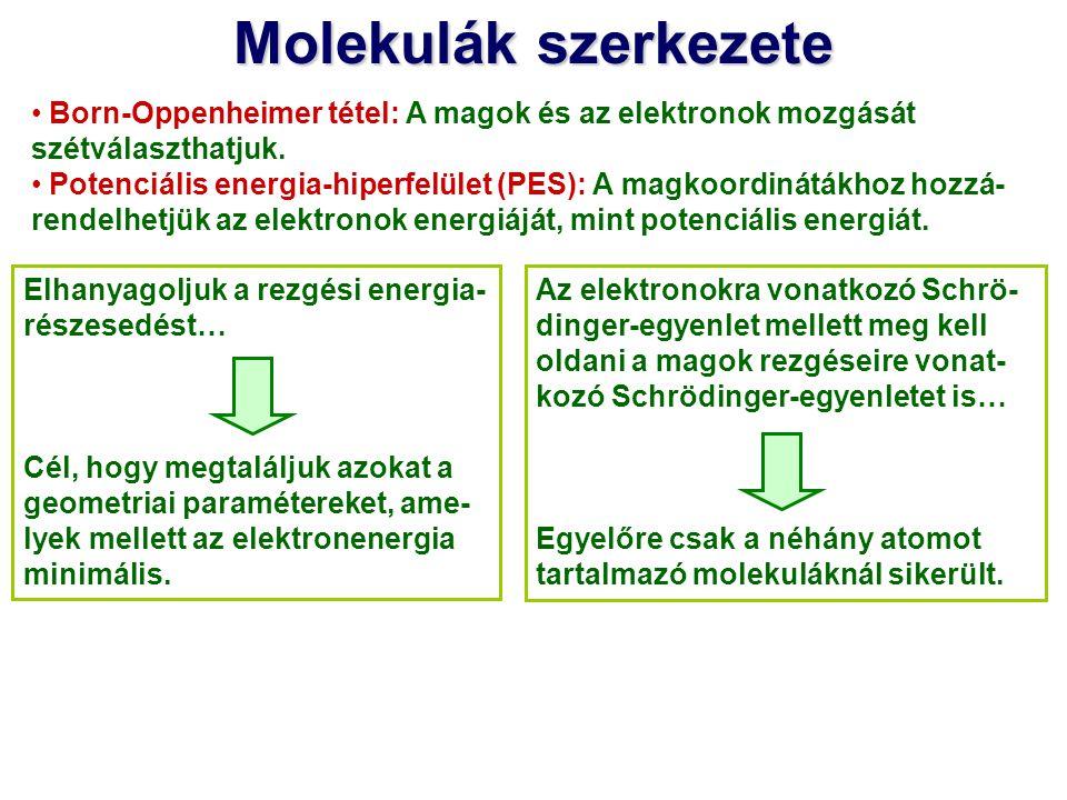 Molekulák szerkezete Born-Oppenheimer tétel: A magok és az elektronok mozgását szétválaszthatjuk.