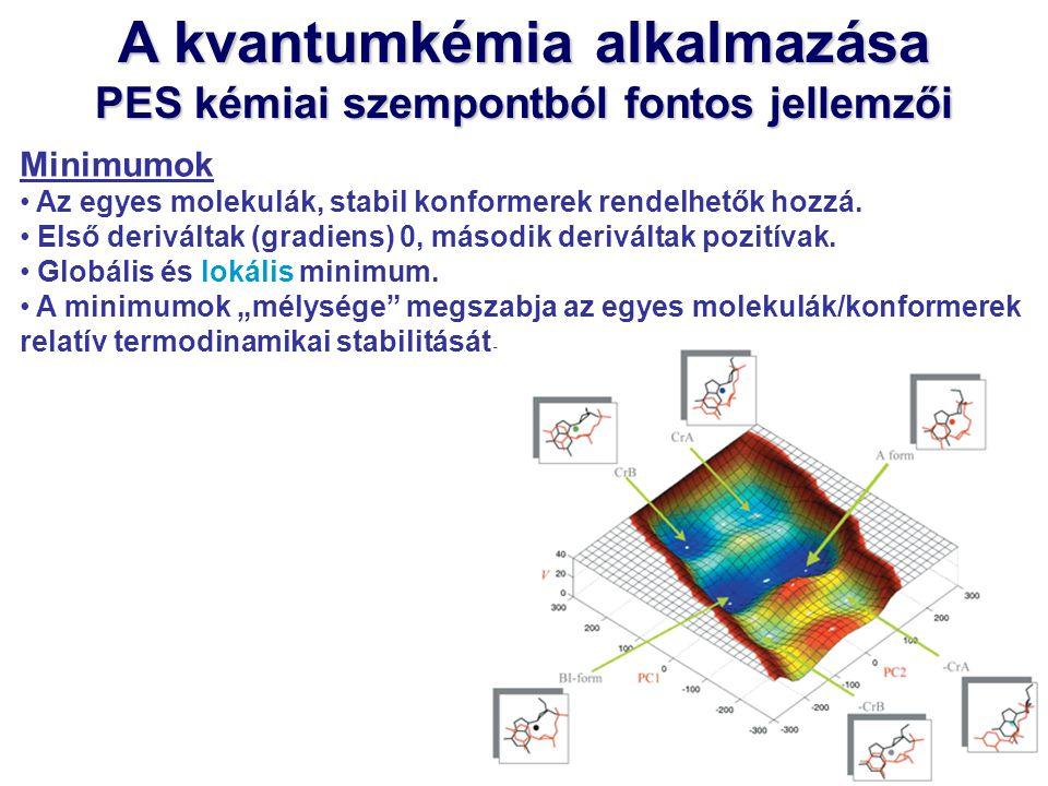 A kvantumkémia alkalmazása PES kémiai szempontból fontos jellemzői