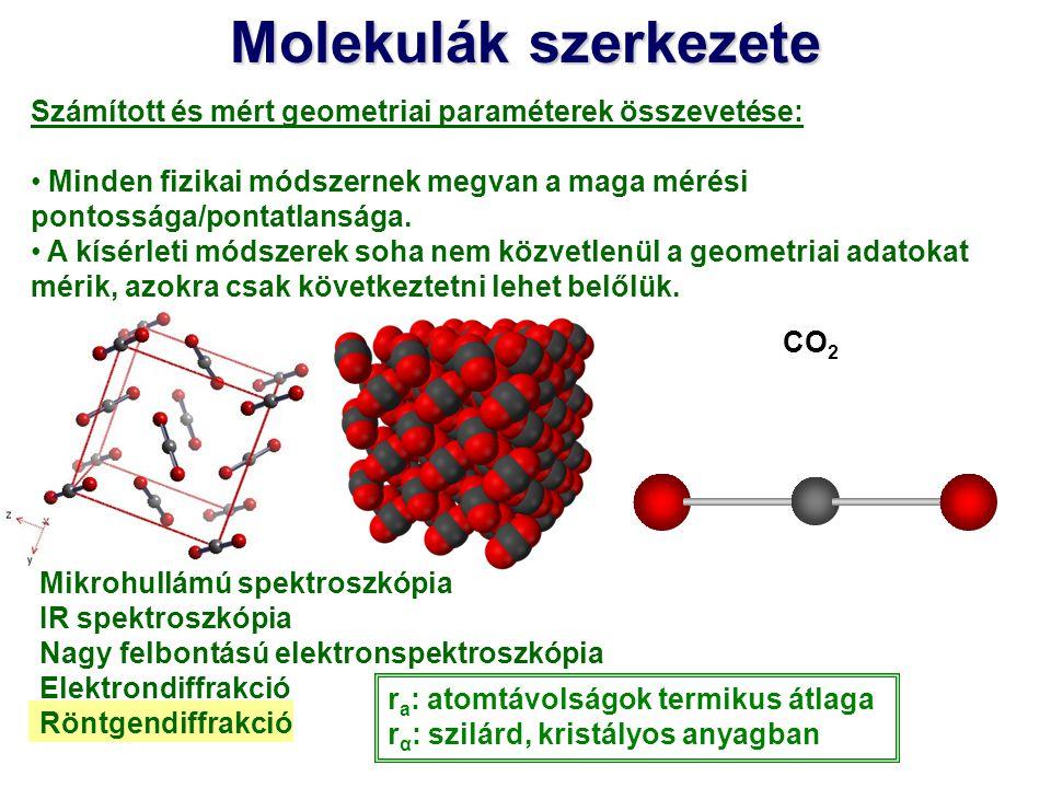 Molekulák szerkezete Számított és mért geometriai paraméterek összevetése: Minden fizikai módszernek megvan a maga mérési pontossága/pontatlansága.