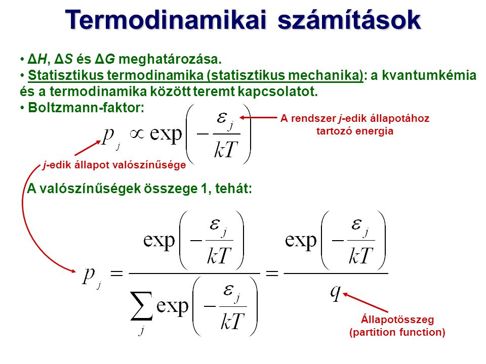Termodinamikai számítások