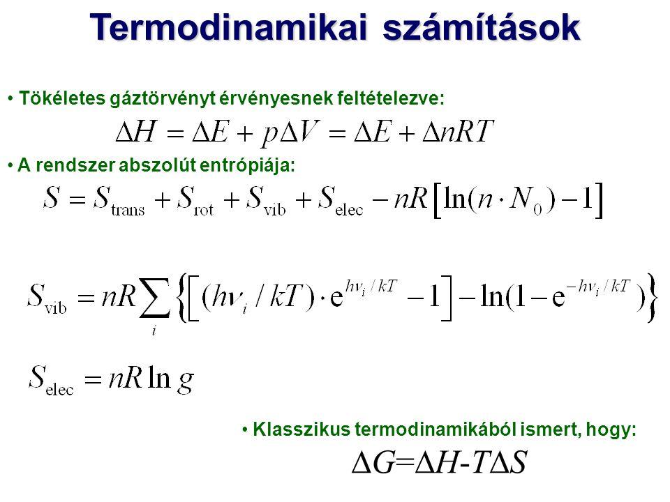 Termodinamikai számítások Klasszikus termodinamikából ismert, hogy: