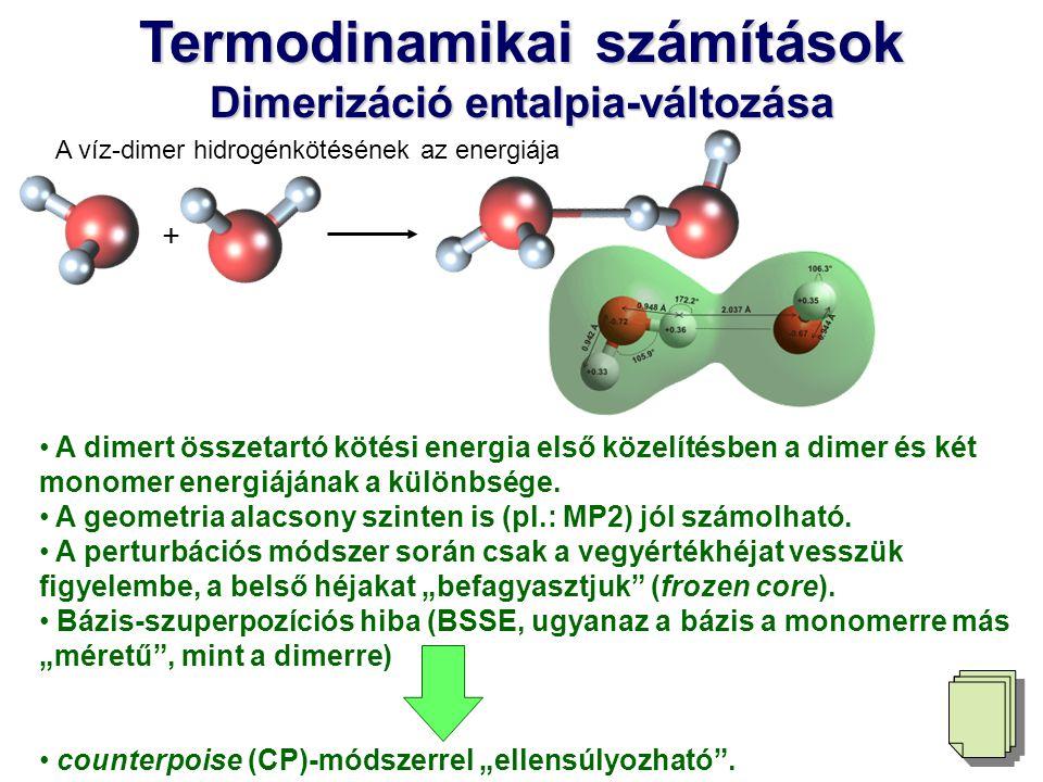 Termodinamikai számítások Dimerizáció entalpia-változása