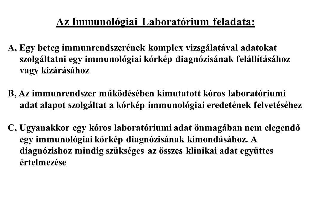 Az Immunológiai Laboratórium feladata: