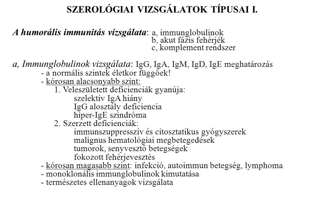 SZEROLÓGIAI VIZSGÁLATOK TÍPUSAI I.