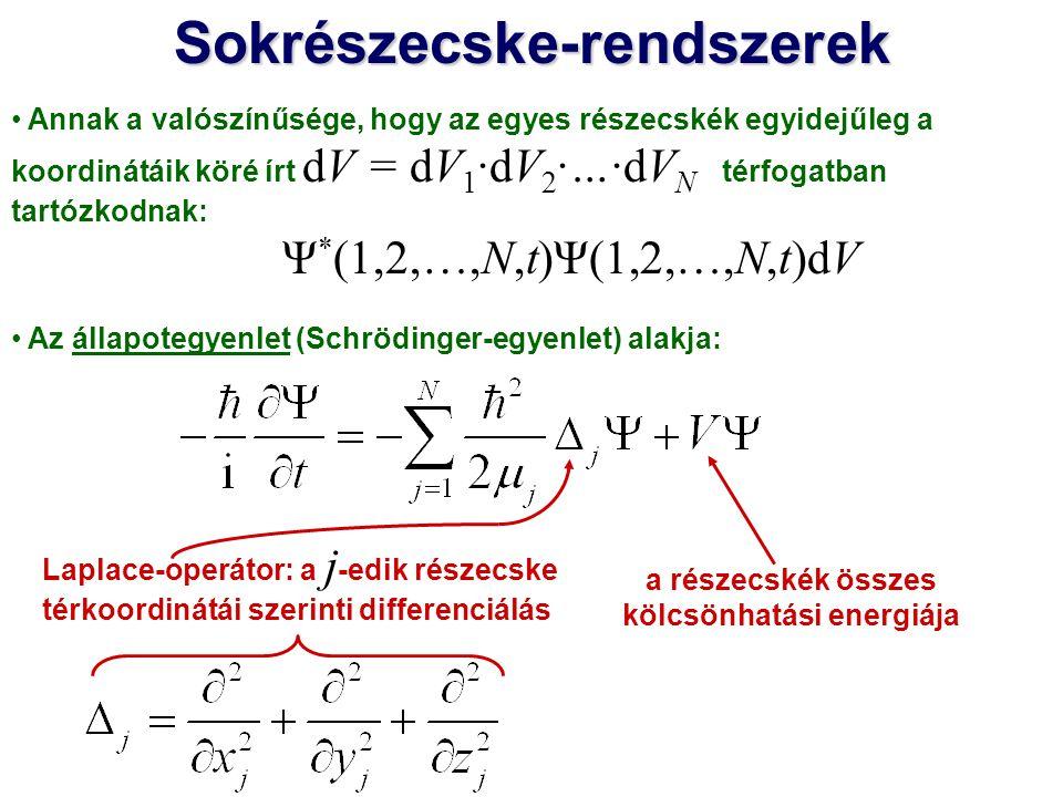 Sokrészecske-rendszerek a részecskék összes kölcsönhatási energiája
