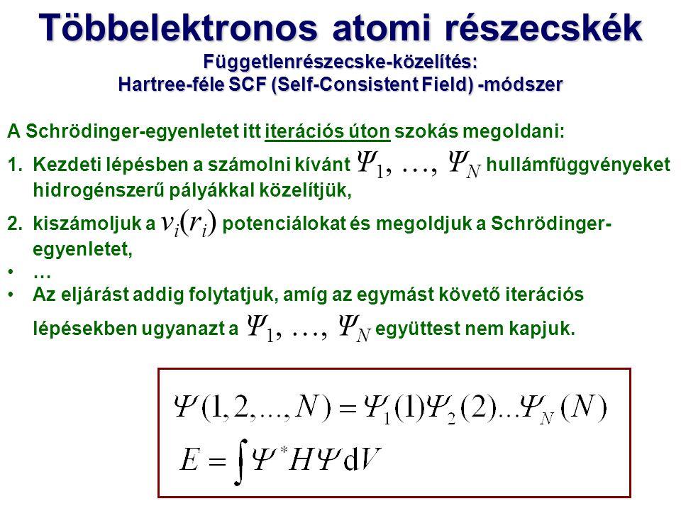 Többelektronos atomi részecskék
