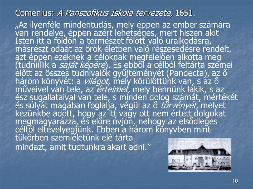 Comenius: A Panszofikus Iskola tervezete, 1651.