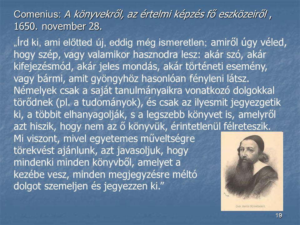 Comenius: A könyvekről, az értelmi képzés fő eszközeiről , 1650