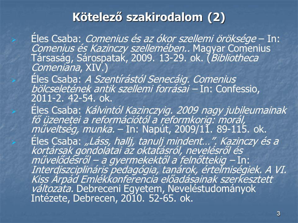 Kötelező szakirodalom (2)