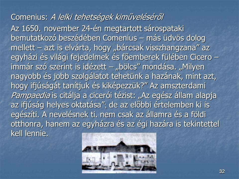 Comenius: A lelki tehetségek kiműveléséről