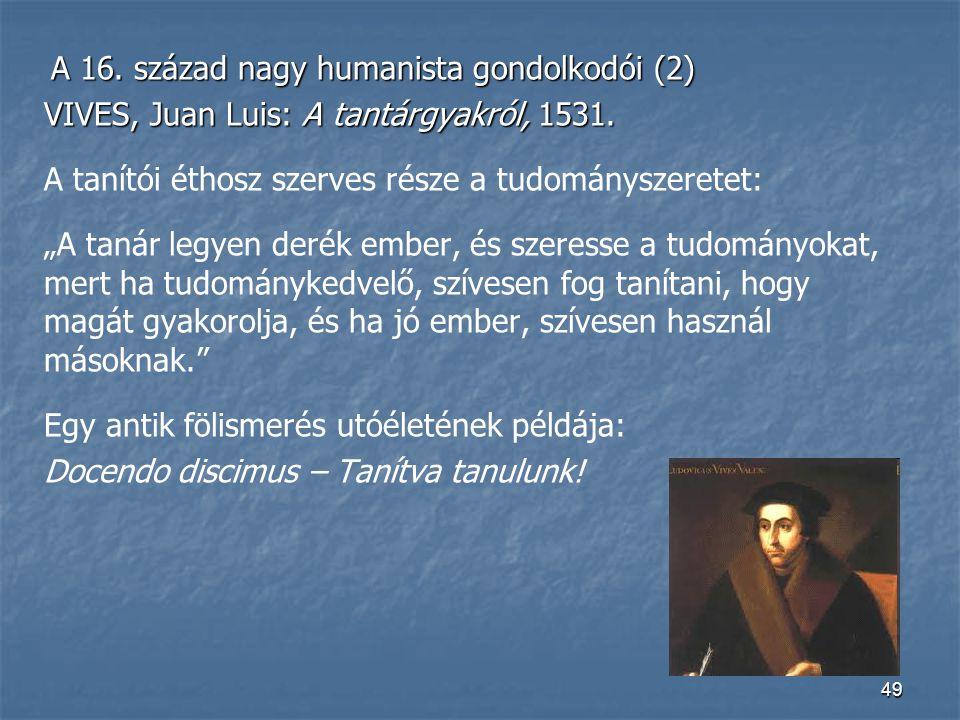 VIVES, Juan Luis: A tantárgyakról, 1531.